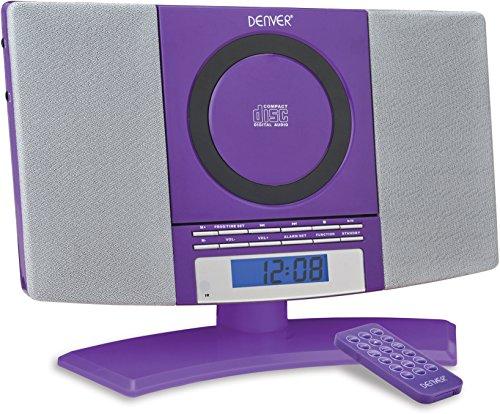 Denver Musik-Center (vertikaler CD-Player mit LCD-Display, AUX-In, Wandhalterung, Weckerradio) violett