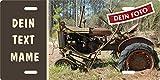 Holashirts Mallorca Traktor-Schild eigenes Tractor-Foto mit Wunschtext selbst Gestalten Blechschild Metallschild Stallschild Türschild Schlepper Trecker für innen und außen, 305x152mm