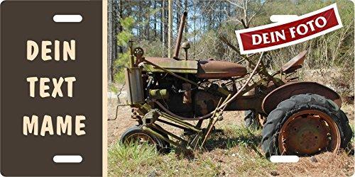 Traktor-Schild eigenes Tractor-Foto mit Wunschtext selbst gestalten Blechschild Metallschild Stallschild Türschild Schlepper Trecker für innen und außen, 305x152mm