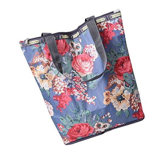 JERFER Blumen gedruckte Segeltuch Einkaufstaschen Große Kapazitäts Segeltuch Strand Tasche D