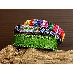 Conjunto Pulsera boho chic bohemia surfera cuero verde brazalete multicolor tejida a mano cinta etnica ante cuero Ajustable