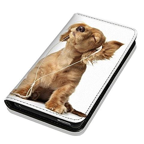 Hülle Galaxy J1 2016 Hülle Samsung J1 J120 Schutzhülle Handyhülle Flip Cover Case Samsung Galaxy J1 2016 J120 (OM1023 Hund Hunde Baby Welpe Braun)