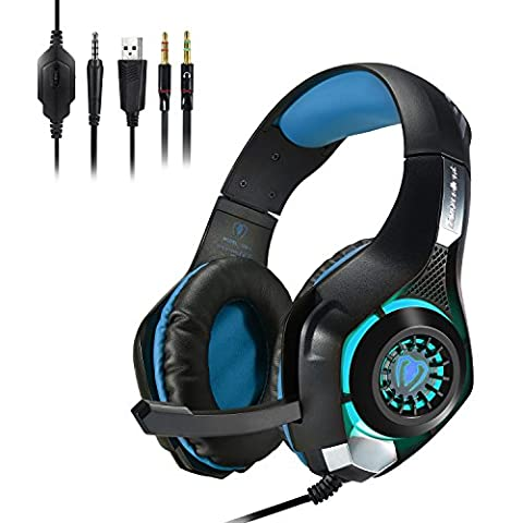 Megadream® Wired Gaming Earphone PS4 PC On-live Game Chat Bass Stereo Haeadset 3.5mm Audio Jack LED Light Over-Ear Noise Cancelling Headphone with Microphone, Volume Control for Playstation 4 PC Laptop Tablet Phones(Black&Blue)