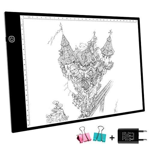METALBAY Mesa de Luz A4, A4 LED Tableta Dibujo Tablero de Copia Ultra-Fino Brillo Ajustable Continuo con Escala con Adaptador, USB Cable de 1,5m y 2 Clip, 43,5cm * 23,5cm, Negro ...
