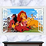 JUNMAONO 3D König der Löwen Wandaufkleber/Abnehmbare Wandbild Aufkleber/Wandgemälde/Wand Poster/Wandbild Aufkleber/Wandbilder/Wandtattoo/Pinupbild/Beschriftung/Pad einfügen/Tapete/Tapezieren/Tapeten/Wand Zeitung/Wandmalerei Haftnotiz/Fühlen Sie sich frei zu kleben/Instant Aufkleber/3D-Stereo-Wandaufkleber
