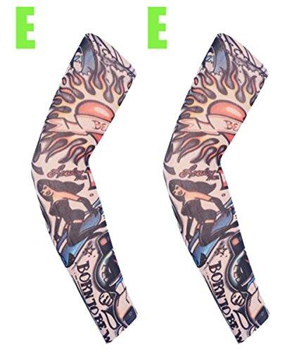 Kunstdruck Schutz gegen die Tattoos Bezug für die Hände Ärmel, Arm Sports Driving Golf Cooling Cool Cover Sun 1Pair, EE (2x22 24 Shirt)