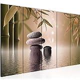 Bilder Feng Shui Steine Wandbild 200 x 80 cm Vlies - Leinwand Bild XXL Format Wandbilder Wohnzimmer Wohnung Deko Kunstdrucke Braun 5 Teilig - MADE IN GERMANY - Fertig zum Aufhängen 501955b