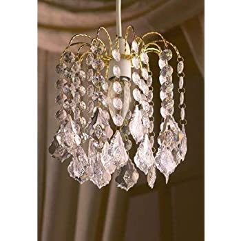 Clear Acrylic Crystal Pear Droplet Gold Frame 2 Tier Chandelier Ceiling Shade Pendant