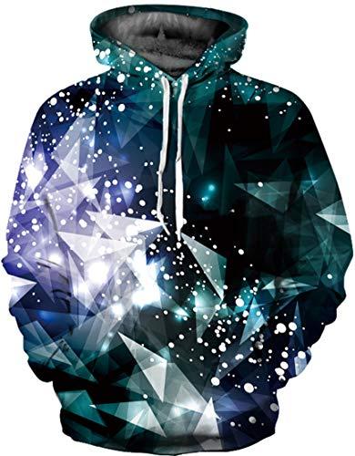 EUDOLAH Damen Pullover 3D Druck Pulli mit Tasche Digitaldruck Pulli mit Aufdruck Galaxy Tier Langarm Diamant XXL/XXXL Diamant Pullover