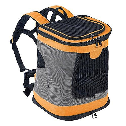 Petcomer Faltbarer, Weicher Rucksack für Katzen Hund mit Verstellbarer, Gepolsterter Schulter Mesh-Top-Öffnung Hundetragetasche bis 10 kg (Orange) (Schulter Sie Überprüfen Tote)