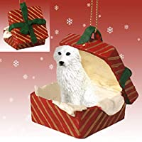 Eyedeal Figurines GREAT PYRENEES Dog sits in a Red Gift Box Christmas Ornament New RGBD75