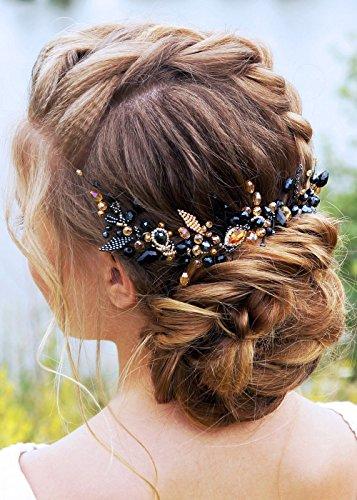 Kercisbeauty da sposa, damigella flower girl nero e champagne cristallo perline catena lunga capelli pettine sposa con pettine copricapo lungo ricci chignon capelli, accessori matrimonio