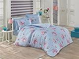 Bettwäsche Renforce 135x200 cm Rosenmuster aus 100% Baumwolle Blue Garden