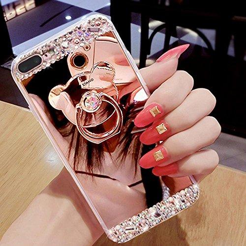Etsue Plating TPU Silikon Schutzhülle für iPhone 7 Plus, Überzug Gold Rahmen Kratzfeste Plating TPU Case Durchsichtige Transparent Crystal Silikon Schutzhülle Handy Gürtel Tasche für iPhone 7 Plus+ 1x Bär Ring mit Strass,Rose Gold