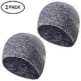 Tagvo Winter-Fleece-Mütze, Running Beanie Mütze Kopfbedeckungen mit Ohrenschützer, Helm Liner für Erwachsene Frauen und Männer elastische Größe Universal (Grau-2 Packung)