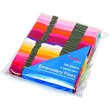 Groves FLOSS100 Assorted Colours Cotton Embroidery Thread 8m Skein Pack of 100