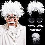 Scienziato Parrucca Set, Include Einstein Costume Parrucca, Occhiali Nerd, Baffi Falsi e Sopracciglia per Feste in Maschera, Halloween, Festa Tema Scientifico Nonno Cosplay