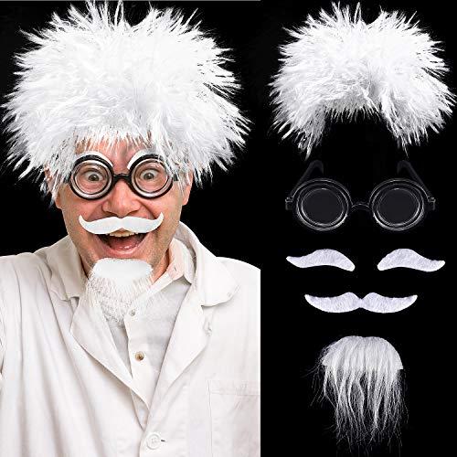 Wissenschaftler Halloween Kostüm - Mad Wissenschaftler Perücken Set, Enthalten Albert Einstein Kostüm Perücke, Nerd Brille, Kunst Schnurrbart und Augenbrauen für Kostüm Partys, Halloween, Wissenschaft Thema Kostüm Party Opa Cosplay
