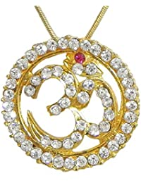 DollsofIndia Gold Plated And Stone Studded Om Pendant - Metal (GX75-mod) - Golden, Yellow
