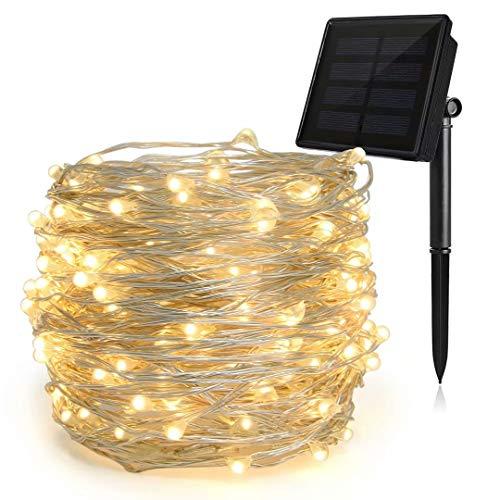 HEEPOW Verbesserte Solar Lichterkette 72 ft/ 22M, 3-Strang Kupferdraht 200 LED Weihnachtsbeleuchtung mit 8 Modi, Solar Lichterkette Wunderschöne-Deko für Zimmer, Garten (Warmweiß)