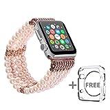 solomo Uhrenarmband Apple Ersatz, verziert handgefertigt Luxus Schmuck Faux Pearl Armband Elastic Stretch iWatch Band mit Mädchen Frauen Armband für Apple Watch Serie 3/2/1alle Version