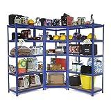 Racking Solutions - Sistema de almacenamiento en esquina de acero, cargas pesadas, 1 unidad estantería de esquina (5 niveles 1800mm Al x 900mm An x 45