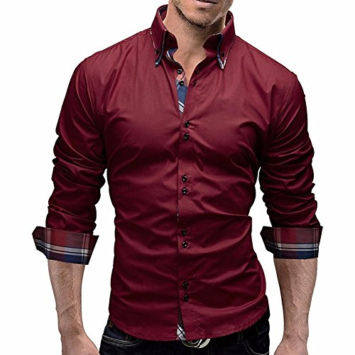 Herren Hemd Longra Herren Herbst Plaid Langarm Shirts Männliche lange Ärmel Hemden Herrenhemd Langarm Shirt Männer Slim Fit Freizeithemd Businesshemd (L, Red) (Größentabelle Polo)
