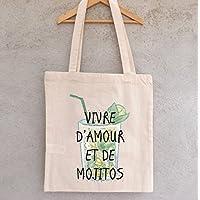 """Tote Bag """"Vivre d'Amour et de Mojitos"""" - sac shopping - sac coton - sac bandoulière - sac de filles - hiboux - chouettes"""