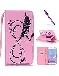 Funda para Samsung Galaxy Note 5, cubierta tipo billetera de EMAXELERS, patrón de mariposas pintadas, de cuero sintético, funda con estilo de libro, diseño con imán para guardar tarjeta de identificación