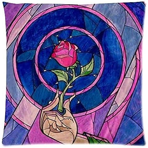 Custom la bella y la bestia Vidriera rosa Funda de almohada pillow Sham Throw Pillow Cojín Funda Dos Lados impresos 18x