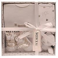 Newborn Baby Gift Set with Bodysuit, Bib, Toy, Socks in a Gift Box. 0 - 3 Months