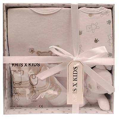 Bebé recién nacido Juego de regalo con el mono , baberos , juguetes, calcetines en una caja de regalo . 0 - 3 Meses