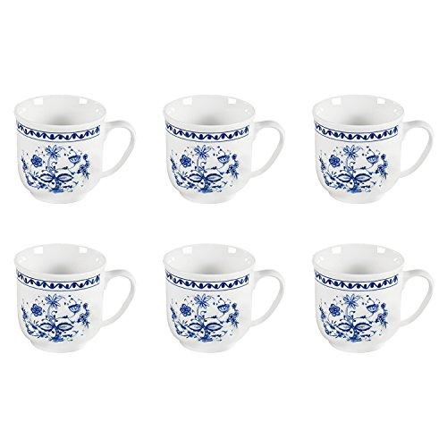 Triptis 1350380674882116 'Romantika Zwiebelmuster' Kaffeebecher, 300 ml, Porzellan, weiß/blau (6...