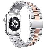 Armband Für iWatch Strap 38mm, AISPORTS Apple Watch Uhrenarmband 38mm Edelstahl Smart Watch Ersatzband Armband Schnalle Schließe Wristband für 38mm iWatch Series 3/2/1,Sport,Edition - Silber/Roségold