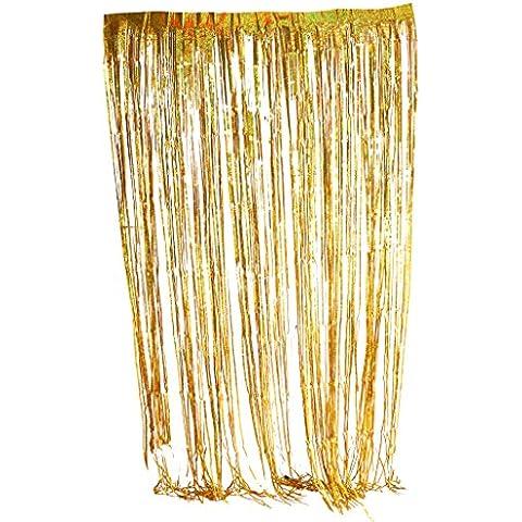 Tende Tendaggio Tendina Porta Frangia Di Finestra Metallico Decorazione Festa Di Nozze - oro, 2 (Tono Oro Nappa)