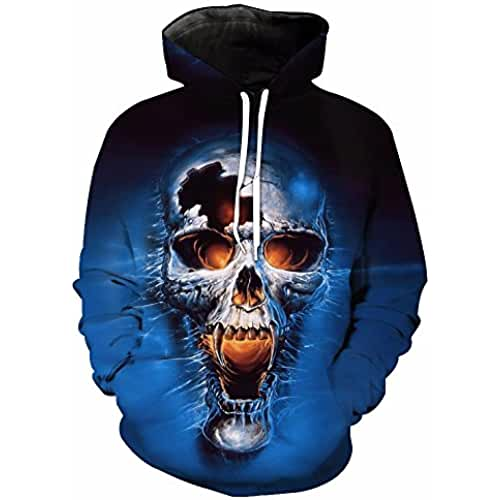 WHLWY La Impresion 3D Blue Skull Cap Moda Sudaderas Con Capucha Sudaderas Con Capucha Sudaderas De Bolsillo Macho Macho Sweater Xl Sudaderas Con Capucha