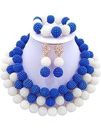 laanc African Nigerian Beads Fashion High Quality Women's 3 Rows Imitation Pearl Bridal Wedding Jewellery Sets