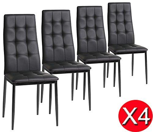 Set di 4 sedie Sophia da pranzo, nero