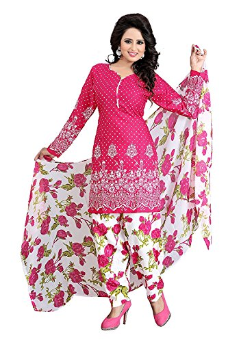 Dress Material for women latest party wear design today offers buy online for low price sale in Pink color and Cotton Fabric Unstitched salwar suit