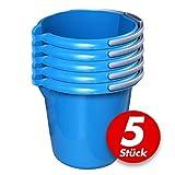 Putzeimer Set - 5 Stück mit Ausguss und Skala, 10 Liter - Eimer rund, Wassereimer Kunststoff, Haushaltseimer Plastik - verschiedene Farben, Farbe:azur