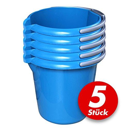 ück mit Ausguss und Skala, 10 Liter - Eimer rund, Wassereimer Kunststoff, Haushaltseimer Plastik - verschiedene Farben, Farbe:azur (Rosa Kunststoff-eimer)