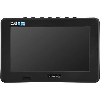 7 Pouces TV Portable, TV numérique portable avec TNT DVB-T-T2 analogique HD 16: 9 Lecteur de télévision avec 800mah Batteries Rechargeables et Allume-Cigare pour Chambre, Cuisine, Caravane, Voiture.(noir)