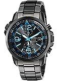 Seiko Men's SSC079 Solar Chronograph Black Bracelet Blue Numbers Watch