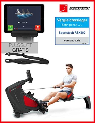 Sportstech RX500Rameur avec contrôle Smartphone–App de Fitness- 12programmes de training + 4programmes...