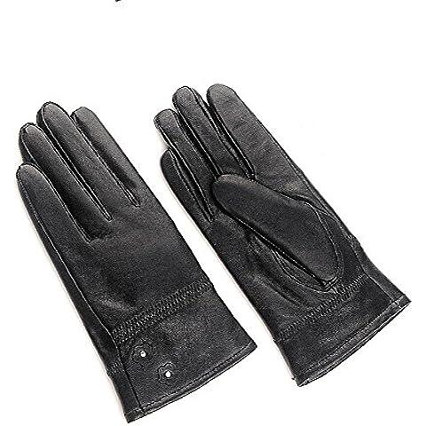 YONG Guantes de cuero guantes de algodón/Cachemira/plus caliente señora encantadora de cuero mujer la primavera y el periodo