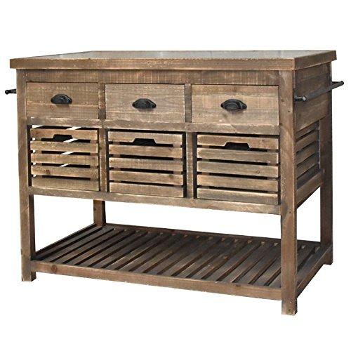 chemin_de_campagne Meuble Ilôt Central Billot Console Bahut Buffet Table de Drapier à Tiroirs Cageots 122 cm