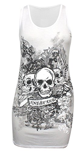 new-ladies-womens-plus-size-forever-young-skull-printed-vest-top-tee-t-shirt-8-22-xl-16-18-uk-white