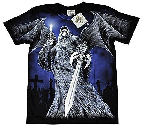 T-Shirt Rock Chang Rock Eagle Heavy Metal Biker Tattoo Rocker Gothic (XXL, 4009)