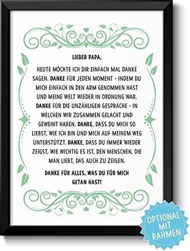 Danksagung Papa Bild optional mit Holz-Rahmen und Namen personalisiert Geschenk Geschenkidee Danke sagen Dankeschön Vater
