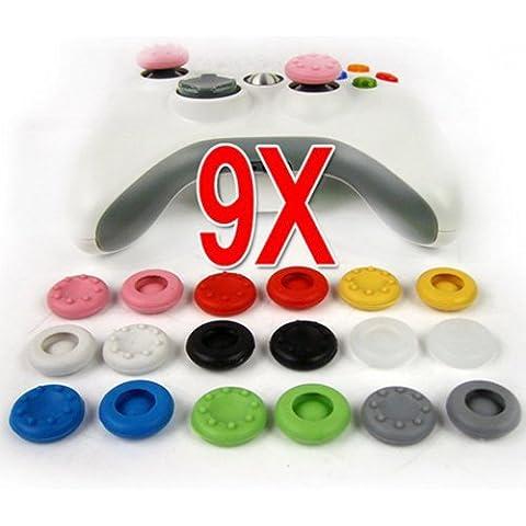 Tapas joystick / joystick / Veetop / 9 pares de botones de silicona para el control de consolas: PS4, PS3, PS2, XBOX 360, XBOX One, Wii u. Disfruta al maximo de tu juego